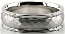 14K WHITE GOLD MENS WEDDING BANDS RINGS HAMMERED 6MM