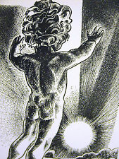 Lynd Ward 1937 NAKED BABY BOY on MOUNTAIN at SUNRISE Art Deco Print Matted