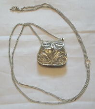 Purse Necklace New Mtn Man/Colonial/Crafts Silver Plated Filigree Square Shaped