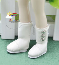 Doll Shoes 3-Stud Boots Milky White For Blythe Pullip Momoko Lati Yellow Dolls
