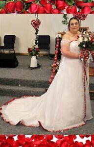 Ohio State Buckeyes OSU CUSTOMIZED Wedding Gown Dress Crinoline & Corset Size 24