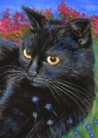 BCB Black Cat Forget Me Not Flowers Trees Print of Painting ACEO 2.5 x 3.5 inch