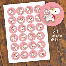 24 Aufkleber 1-24 Advent Adventskalender Zahlen Weihnachten Sticker Einhorn rosa