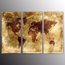 FRAMED Canvas Art Prints Antique World Map Wall Art Canvas Painting Prints-3pcs