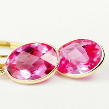 Created Pink Sapphire, 14KY Gold Leverbacks, E101