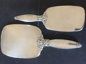 Antique Sterling Silver Hand Mirror and Hair Brush Dresser Set Watson Silver Co.