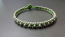 Silver Bead Green Anklet