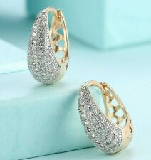 5.00 CT Pave with Swarovski Crystal Micropave Huggie Earrings 18K Gold