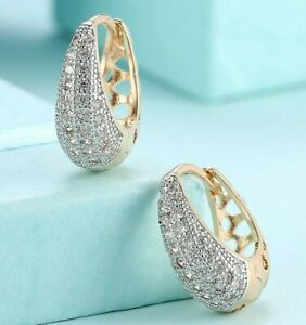 5.00 CT Pave with Crystals Huggie Earrings 18K Gold with Gift Box