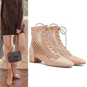 New Dior Runway Naughtily-D 3cm Suede and Mesh Ankle Boot in Nude $1250 EU 37.5