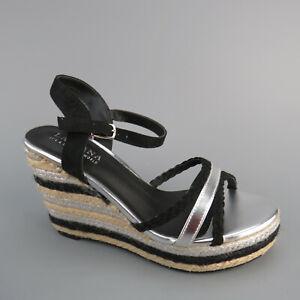 LASCANA High-Heel-Sandalette Keilabsatz Schwarz Silber Gr.39 Neu