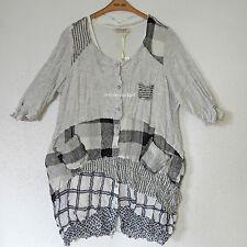ZEDD..PLUS 2-Teiler Tunika Jacke + Long Shirt Viskose ecru-schwarz 40-42 (1)