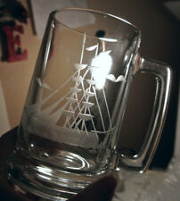BAR GIFT ! Vintage Set 4 Nautical ETCHED Glass SAILBOAT Glasses BEER MUGS Stein