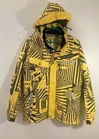 HEAD Ski Snowboard Jacket Coat - Mens MEDIUM - Wild Yellow Caution Tape - Hybrid