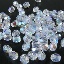 100 feuerpolierte Glasschliffperlen 4mm kristall AB Perlen transparent -1767