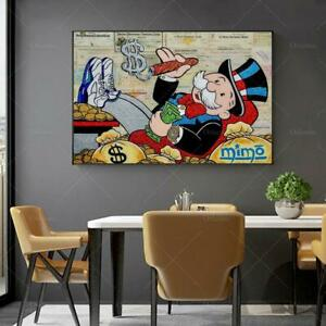 Alec Monopolyingly Richie Scrooge Dollars Canvas Painting Posters Graffiti Print