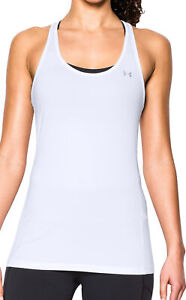 Under Armour HeatGear Racer Womens Tank Top Gym Running Training Vest White UA