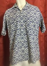 M Vintage 50s/60s EXCELLO Cotton NAVY BLUE PAISLEY IVORY Loop Collar Shirt USA