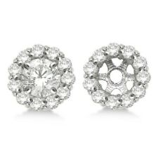 Round Diamond Earring Jackets For 8mm Studs 14K White Gold Over  (1.00ct)
