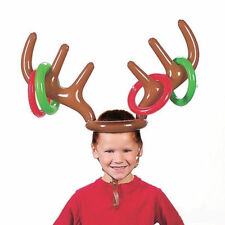 Christmas Hat Inflatable Reindeer Ring Toss Game Toy Set Party Gift Antler Hat