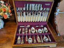 More details for good vintage 1950's 50 piece matched viners sheffield epns canteen cutlery