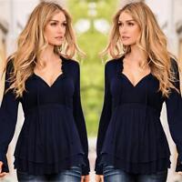 Sexy Women Ladies Long Sleeve Casual Blouse Shirt Chiffon Loose Tops UK Size8-14