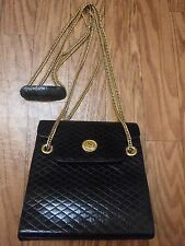 Authentic Albert Nipon BlackLeather Quilted GoldChain Crossbody Messenger Bag **