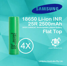 4x Samsung 18650 2500mAh 25R Lithium Rechargeable Battery INR18650-25R Flat Top