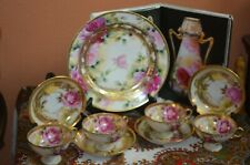Gorgeous 9--Piece Nippon Tea Set Pink & Yellow Roses with Gold Overlay mark#101