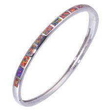 Orange Blue Fire Opal Silver Women Jewelry Adjust Cuff Bangle Bracelet OS636-37