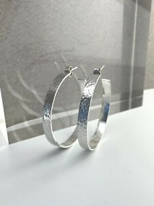 Sterling Silver 925 • 5mm Wide • Sparkly Hammered Hoop Earrings • Sizes 25-40mm