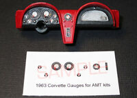 1963 CORVETTE GAUGE FACES for 1/25 scale AMT COUPE AND CONVERTIBLE KITS