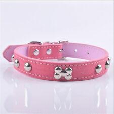 Collar de Perro Cachorro para pequeñas medianas grandes Hueso de Cuero PU