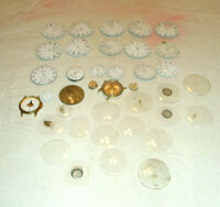 Vintage 38 Asst'd Watch Parts Faces Covers Elgin American NY Standard Ingersoll