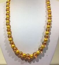 Necklace58cm  Round gold/yellow coloured Glass beads. Gold Stardust ball spacers