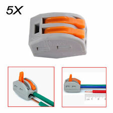 2Way 5pcs - Connector Wire Reusable Spring Lever Terminal Block Electric Cable