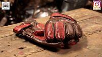 Vintage Cafe Racer Leather Glove (Vintage Brown + Red) Size L