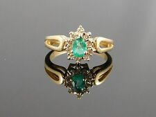 Vintage Pear Shaped Emerald Ring with Diamond Halo- 14k (3.3 grams)