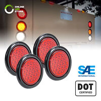 "4pc DOT Submersible Red 4"" Round 24 LED Trailer Tail Light Kit w/ Grommet & Plug"