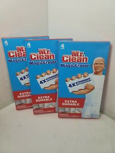 Mr. CLEAN MAGIC ERASER EXTRA DURABLE 3 BOXES 12 PADS TOTAL NEW FREE SHIPPING