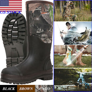 HISEA Men's Boots Neoprene Rubber Insulated Chore Working Boots Muck & Mud Boots