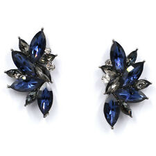 Vintage Navy & Grey Crystal Big Stud Earrings Bridal Wedding Birthday Gift