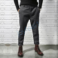 Men's Winter Fat Harlan Feet Pant Wool Pants Retro England Slim Warm Trousers