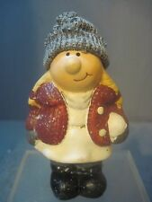 BOY STANDING IN THE SNOW CERAMIC CHRISTMAS FIGURE HOLIDAY WINTER WOOL CAP