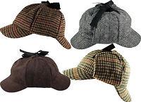 Sherlock Holmes Deerstalker Tweed Multi Check & Herringbone Wool Blend Hat Cap