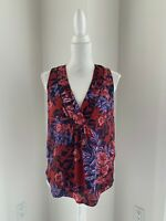 Rebecca Taylor Rust & Blue Floral Sleeveless Silk Top Blouse SZ 6 S