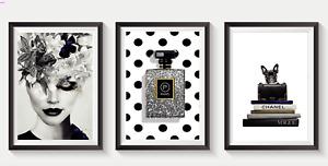 Set of 3 Fashion Art Prints Designer Perfume Bottle logo pink A5 A4 A3 S20