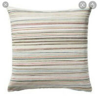 "Ikea MALIN TRAD Pillow Cushion Cover 20""x20"" Ivory Tam Green Red Multi Striped"