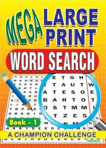 A4 Mega Large Print Word Search Puzzle Book Books 130 PUZZLES   -  BOOKS 1-4