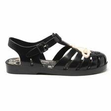 New Womens Vivienne Westwood + Melissa Black Possesion Pu Vegan Sandals Flats